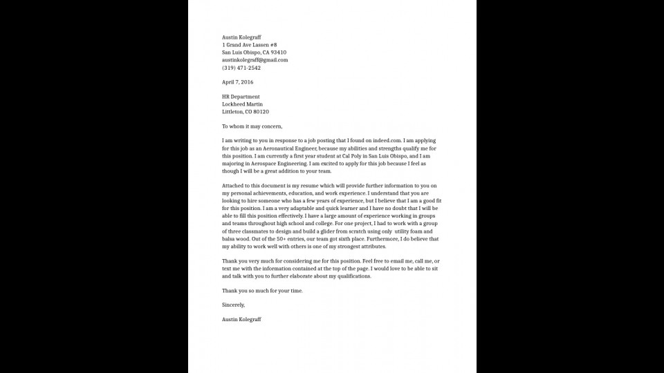 Cover Letter For Lockheed Martin