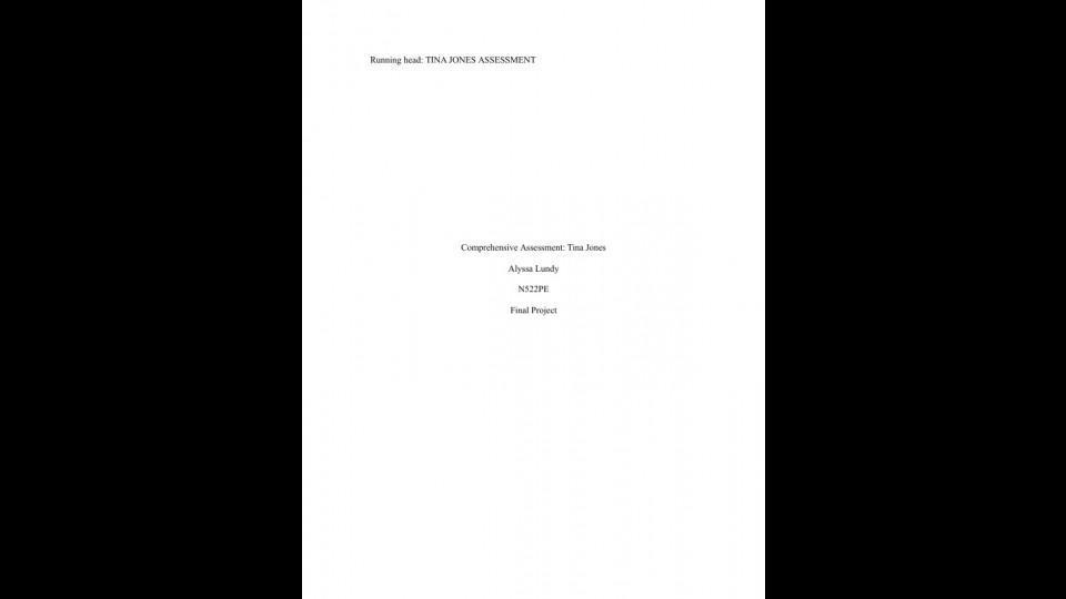 Comprehensive Assessment of Tina Jones | Portfolium