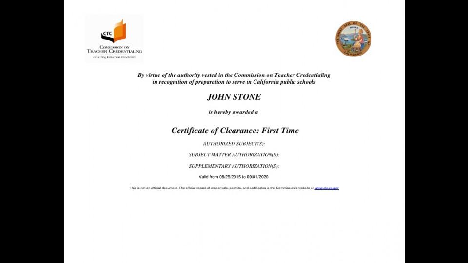 Certificate Of Clearance John W Stone Portfolium