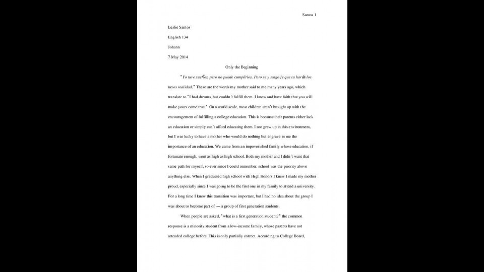 Profile Essay First Generation Students  Portfolium
