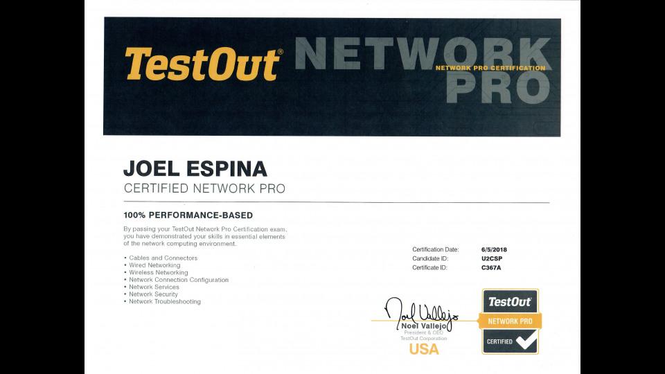certification security testout network portfolium