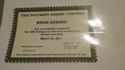 Brian genaro portfolium ase refrigerant recovery recycling certicate sciox Image collections