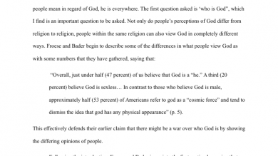 religion portfolium froese and bader essay section one