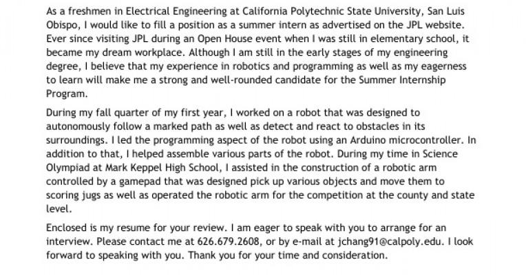 jpl internship cover letter