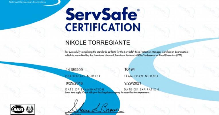 ServSafe Certification - Powered by Portfolium