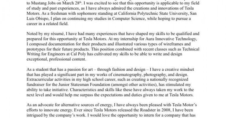 Tesla Motors Cover Letter