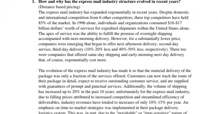 express mail and airborne express 1how and why has the express mail industry structure evolved in recent years how have the changes affected small competitorsthe us express mail industry is highly.