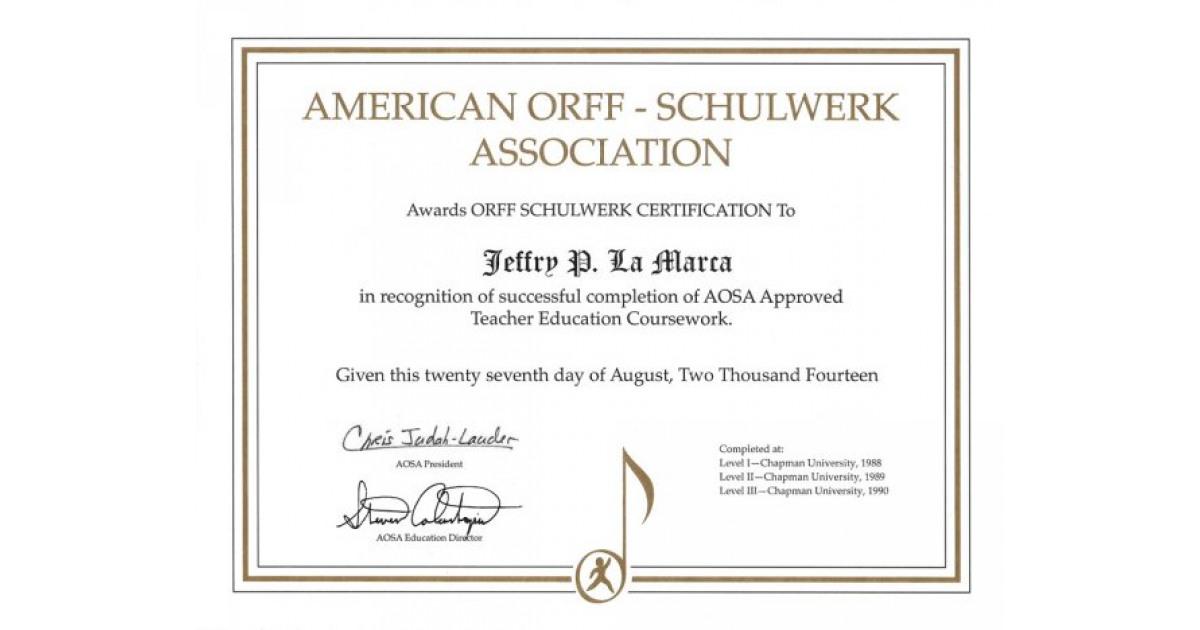 Orff Schulwerk Teacher Certification Portfolium