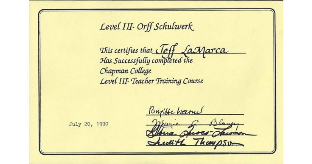 Orff Schulwerk Teacher Training 1988 To 1990 Portfolium