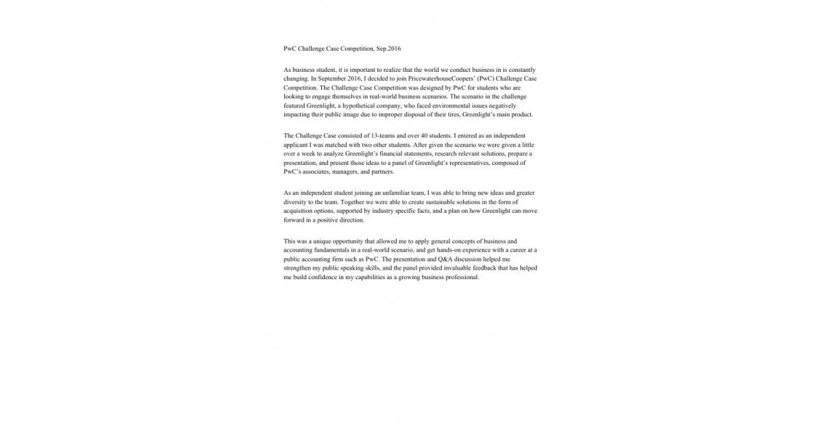PwC Challenge Case Competition   Portfolium