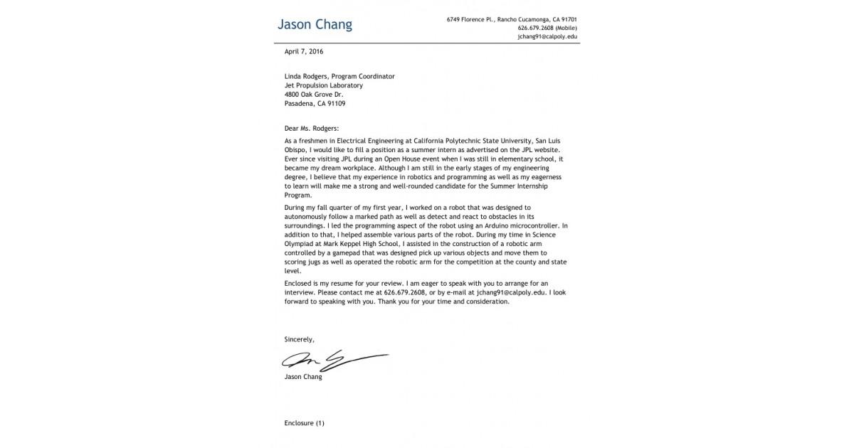 jpl cover letter - Pelit.yasamayolver.com