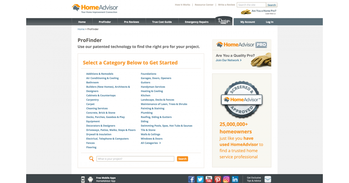 Profinder - HomeAdvisor Consumer Site | Portfolium