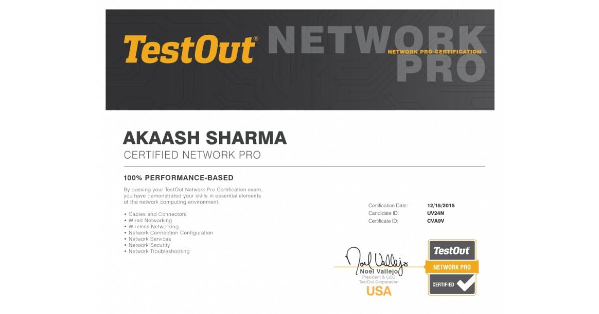 testout pro certification network portfolium