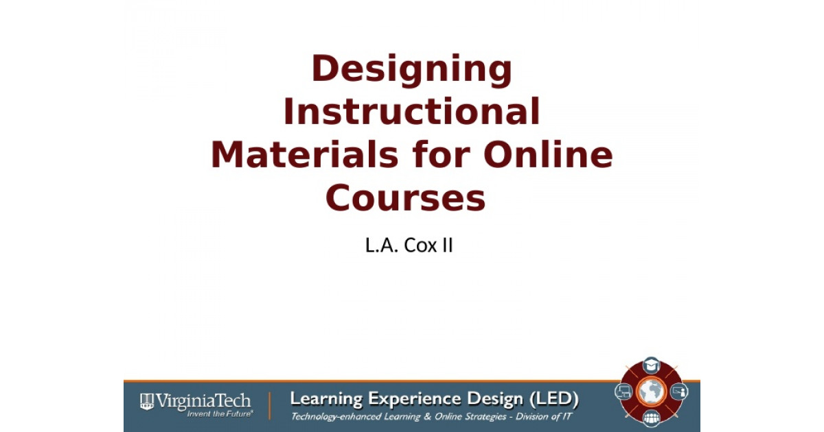 Designing Instructional Materials For Online Usage Portfolium