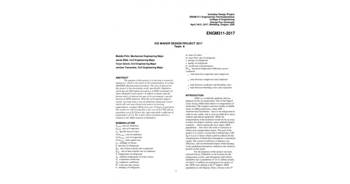 ICE MAKER DESIGN PROJECT REPORT (ASME FORMAT) | Portfolium