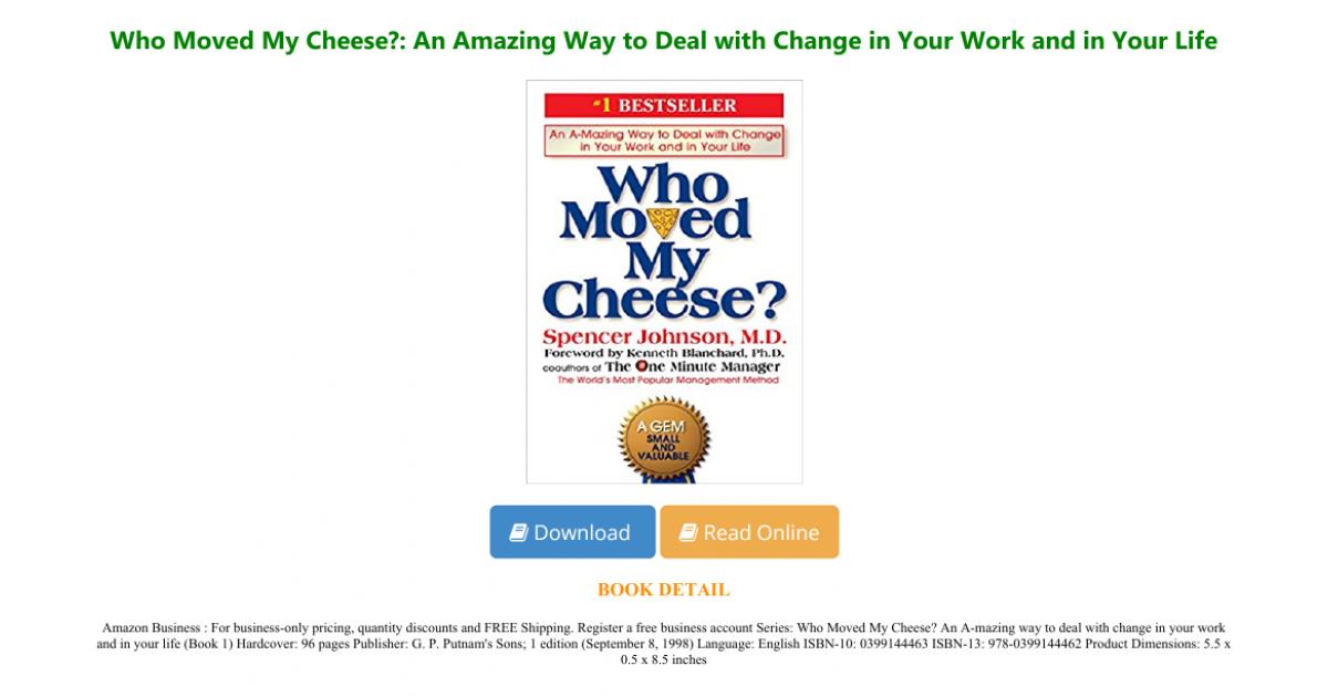 Pdf D O W N L O A D Who Moved My Cheese An Ama Portfolium