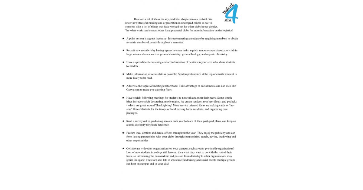 ASDA District 4 Pre-Dental Advisory Committee | Portfolium