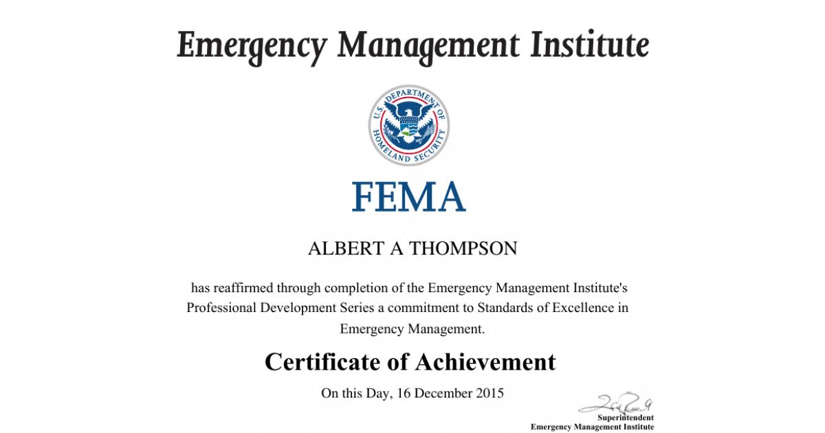 FEMA Professional Development Series (PDS) COA   Portfolium