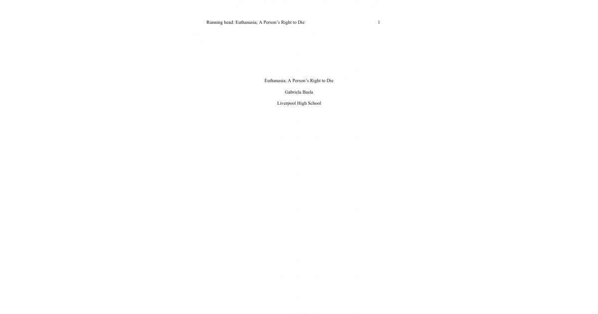 Euthanasia Essay  Portfolium  Essay For Science also Macbeth Essay Thesis  Proposal Essay Topic List