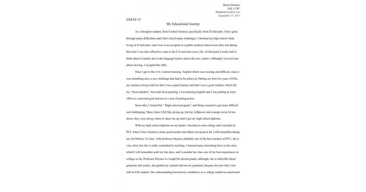 Essay My Educational Journey  Portfolium  Where Can You Get Help To Write A Business Plan also Essay English Example  Essay Writing High School