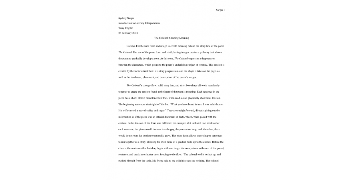 Creating Meaning in Literature Essay (Spring 2018) | Portfolium