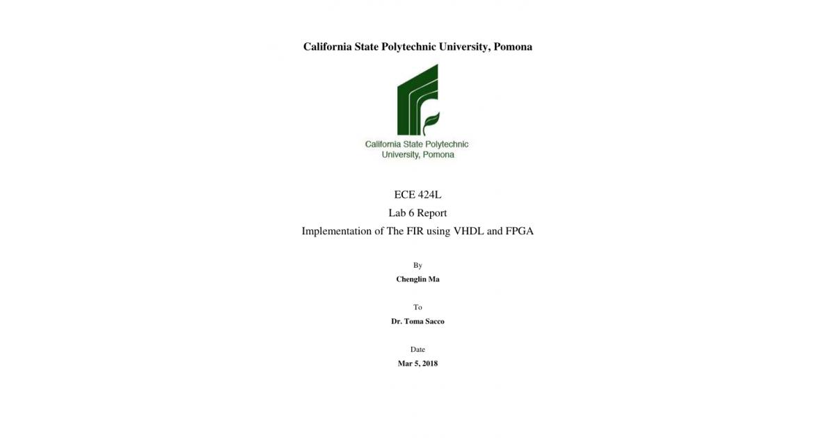 Implementation of The FIR using VHDL and FPGA | Portfolium