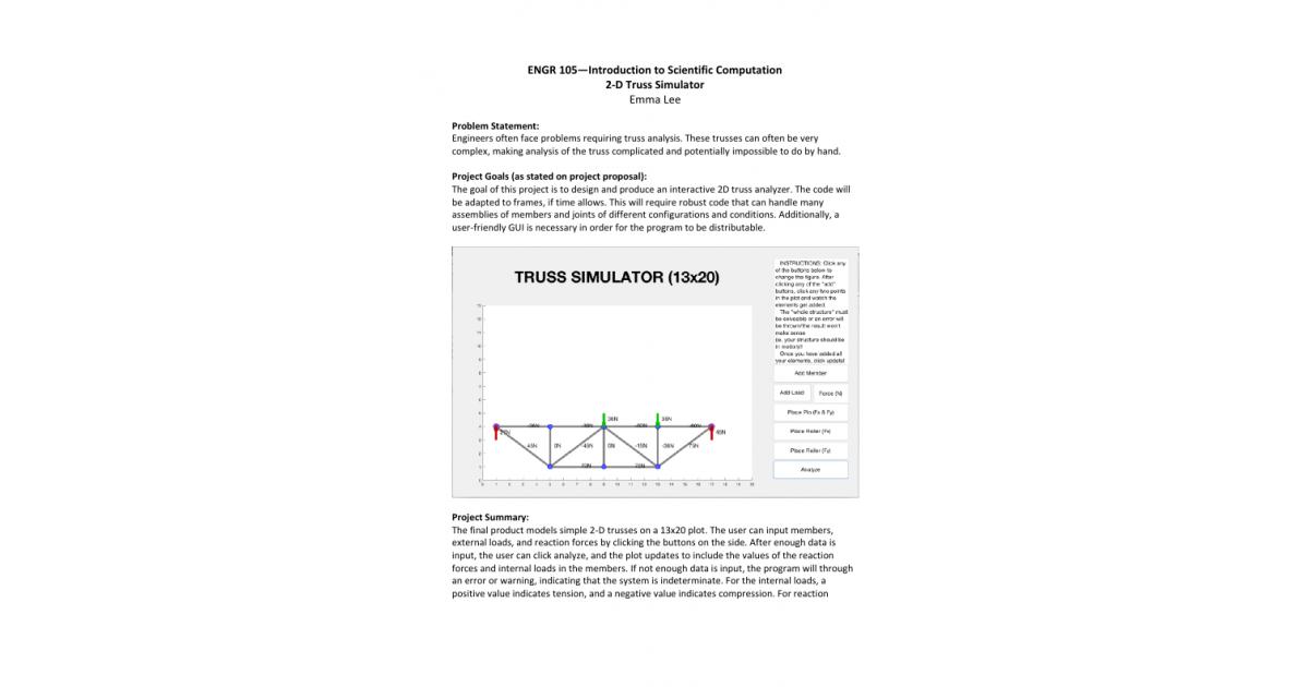 2D Truss Simulator | Portfolium