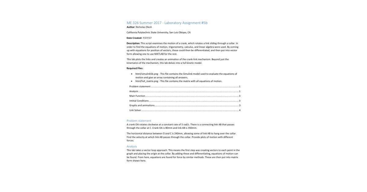 Crank Problem MATLAB Solution | Portfolium