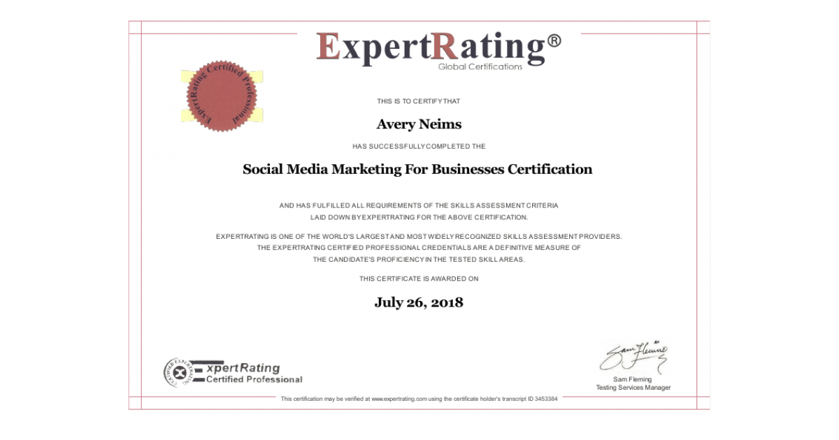 Social Media Marketing Businesses Certification Portfolium