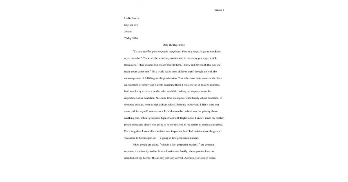 First Generation College Student Essay